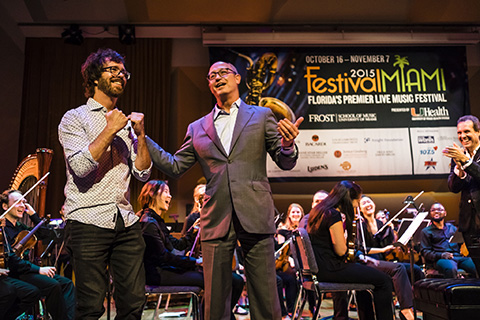 Frost School of Music Dean Berg presenting Frost Alum, Ben Folds, at the 2015 Festival Miami Concert Series