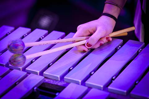 Two mallets being held by a hand resting on a xylophone.