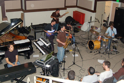 Funk Fusion ensemble during a performance on campus