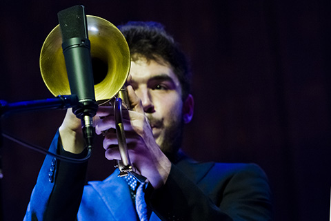 Trumpet player performing in concert
