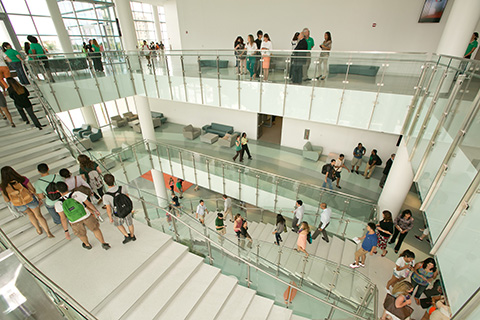 Students inside the Student Center at the University of Miami Coral Gables Campus