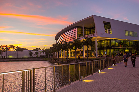 The Student Center at the University of Miami Coral Gables Campus during Sunset